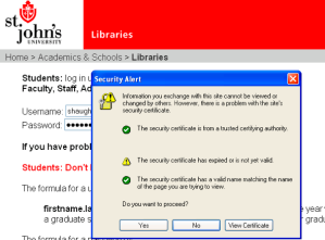 Refworks Certificate error as displayed on IE6